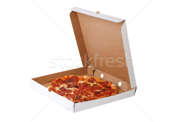 Taze pizza açmak kutu yalıtılmış beyaz Stok fotoğraf © caimacanul
