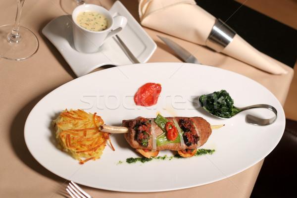 Repas viande restaurant plaque pansement alimentaire Photo stock © caimacanul