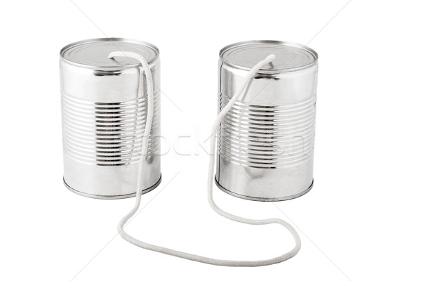 tin cans connected by string, business communication concept Stock photo © caimacanul