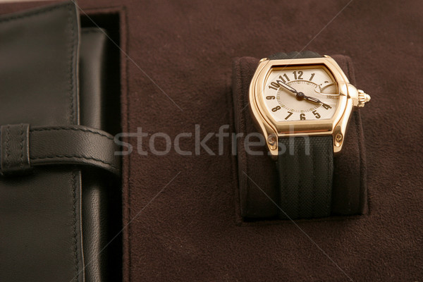 gold watch with black strap  Stock photo © caimacanul