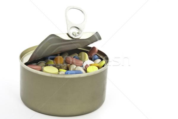Stock fotó: Konzerv · tele · tabletta · közelkép · beteg · törődés