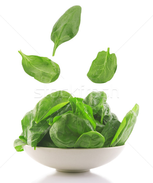 Stock photo: fresh spinach in a white bowl