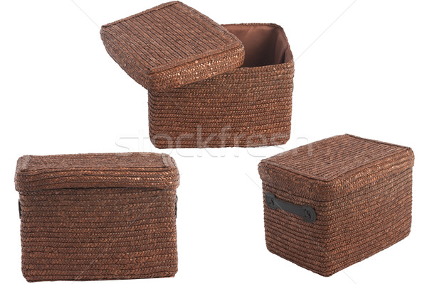 decorative brown wicker basket with lid Stock photo © caimacanul