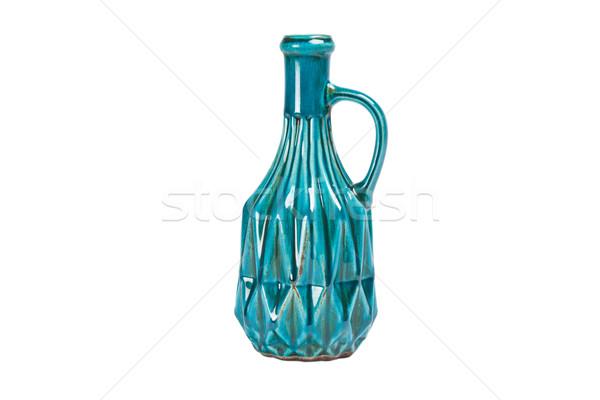 Edad azul botella jarrón aislado blanco Foto stock © caimacanul