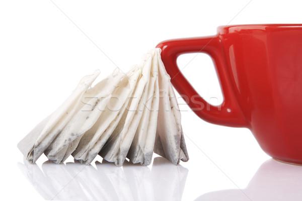 Stock fotó: Piros · kerámia · csésze · tea · szatyrok · tükröződés