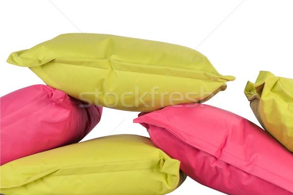 Zdjęcia stock: Jasne · poduszki · odizolowany · biały · różowy · zielone