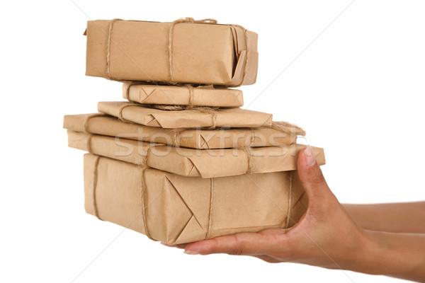 Caja de regalo mano ninas tiempo regalos blanco Foto stock © caimacanul