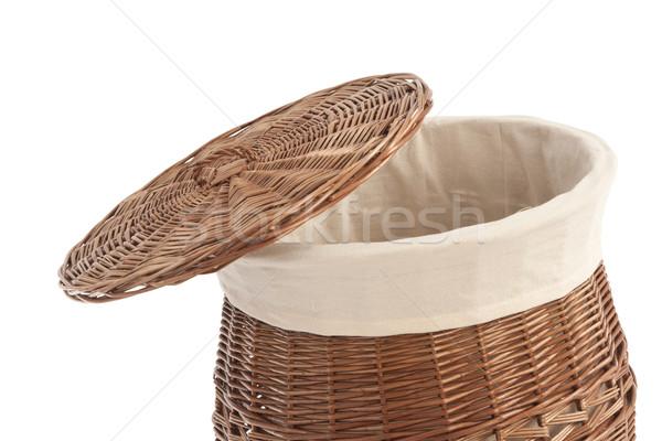 Panier à linge isolé blanche texture panier drap Photo stock © caimacanul