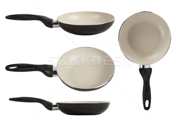 White ceramic frying pan isolated on white background Stock photo © caimacanul
