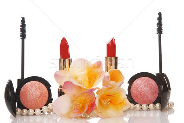Kozmetika virág szépség fehér nő szem Stock fotó © caimacanul