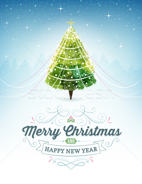 Christmas Card with a Christmas Tree at the Top and Ornaments an Stock photo © cajoer