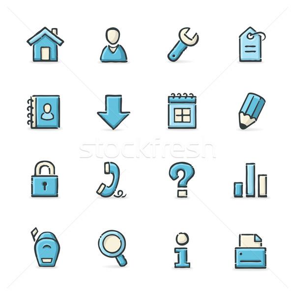 Интернет иконы рисованной синий бежевый файла формат Сток-фото © cajoer