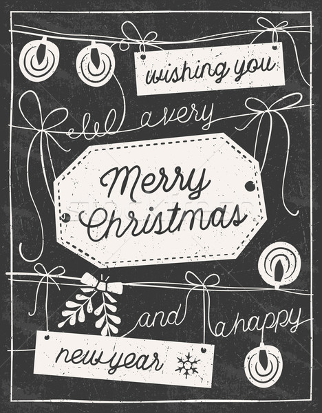 Hand Drawn Chalkboard Christmas Card Stock photo © cajoer