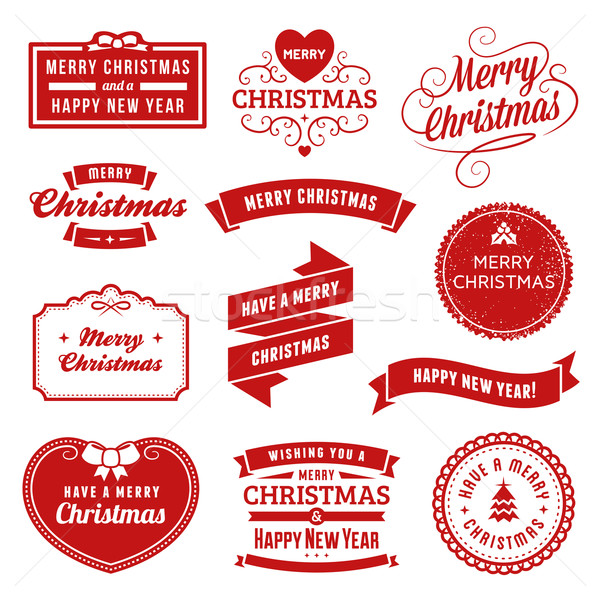 Collection of Red Christmas Labels, Ribbons and Ornaments Stock photo © cajoer