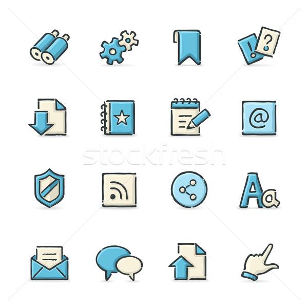 Internetes ikonok kézzel rajzolt kék bézs akta formátum Stock fotó © cajoer