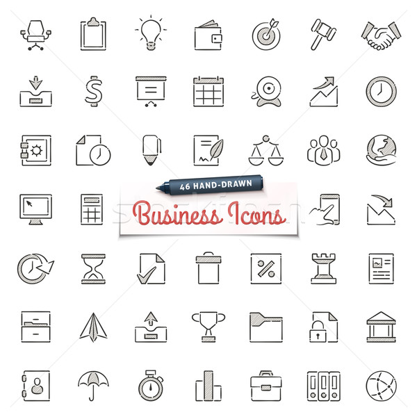 Hand-Drawn Business Icons Stock photo © cajoer
