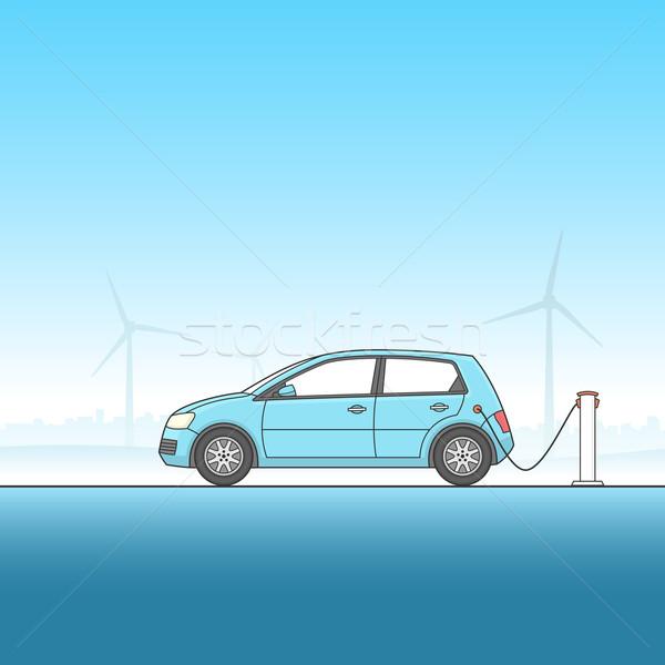 Elektrische auto illustratie paal auto energie Stockfoto © cajoer