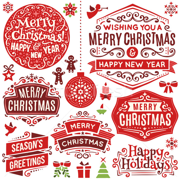 Hand Drawn Christmas Design Elements Stock photo © cajoer
