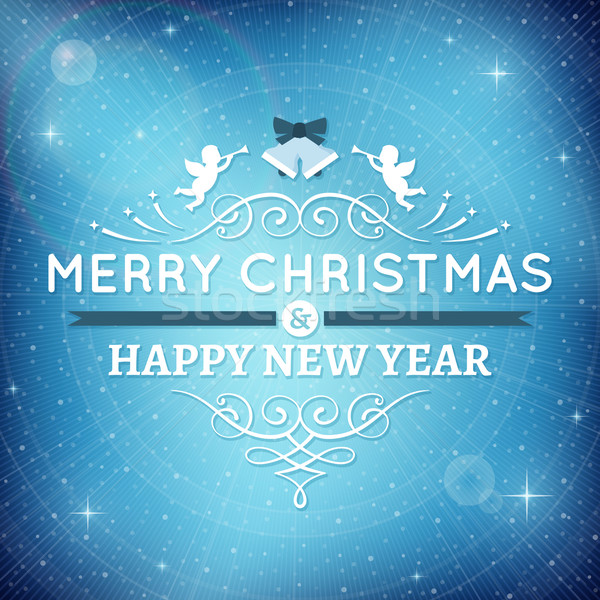 Sparkling Blue Christmas Card Stock photo © cajoer