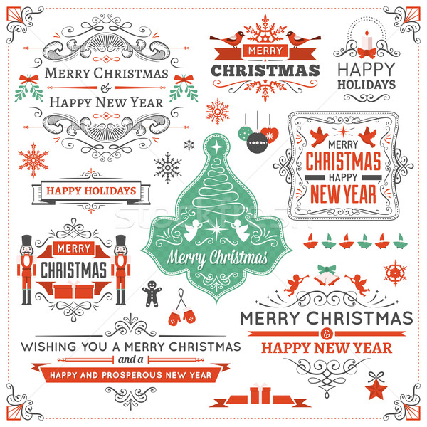 Large Collection of Christmas Design Elements Stock photo © cajoer