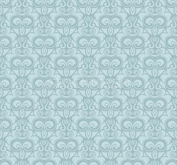 Régi tapéta minta világoskék vektor klasszikus végtelenített Stock fotó © cajoer