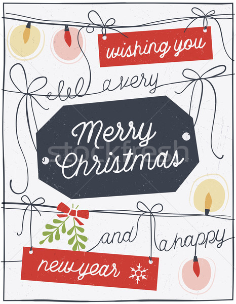 Hand Drawn Christmas Card with Strings, Labels and Lights Stock photo © cajoer