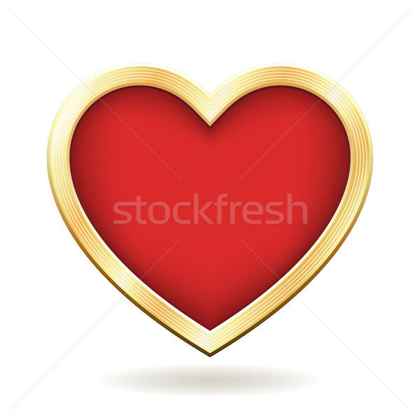 Red Heart with Golden Frame Stock photo © cajoer