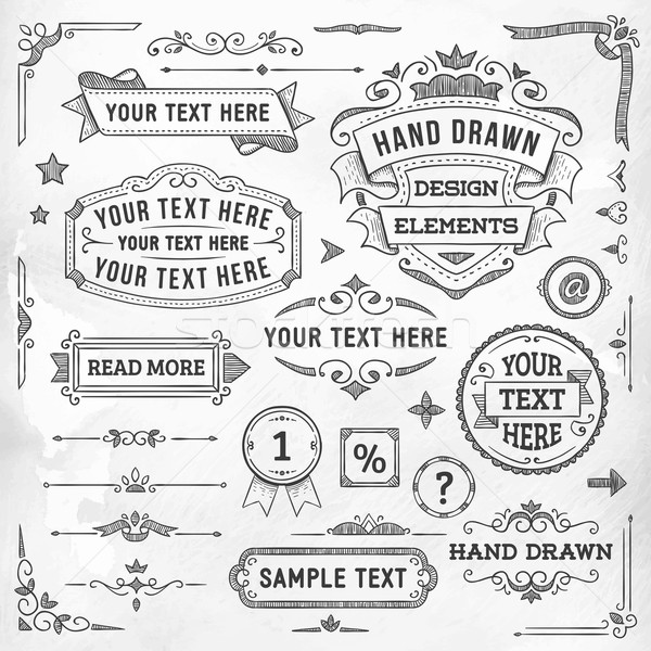 Hand Drawn Design Elements Stock photo © cajoer