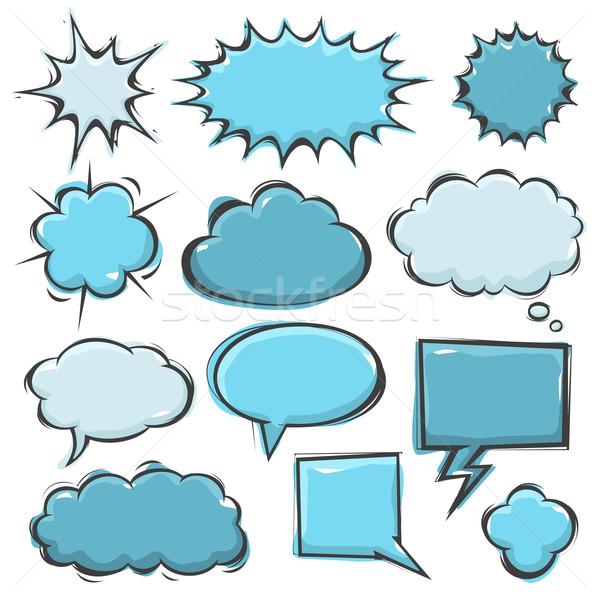 Képregény szövegbuborékok akta formátum felhő robbanás Stock fotó © cajoer
