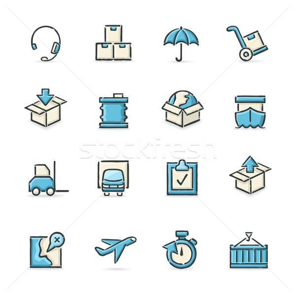 Logistyka ikona niebieski beżowy pliku Zdjęcia stock © cajoer