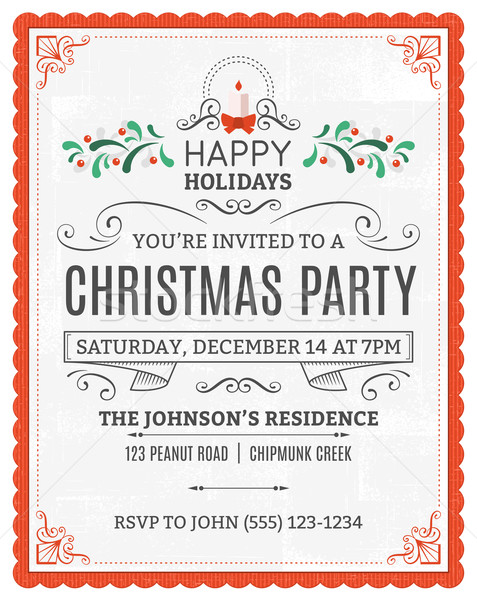 White Christmas Party Invitation with a Red Frame Stock photo © cajoer