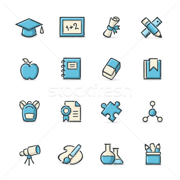 Stockfoto: Onderwijs · iconen · Blauw · beige · bestand