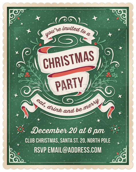 Green Christmas Party Invitation Template Vector Illustration Carl - Party invitation template: elegant christmas party invitation template