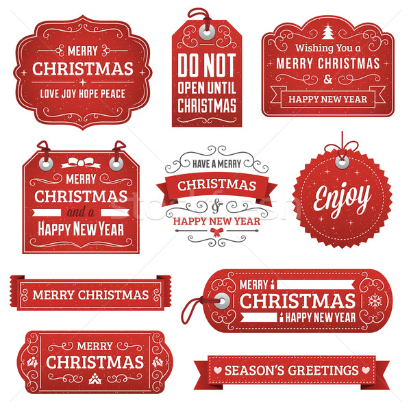 Collection of Red Christmas Labels Stock photo © cajoer
