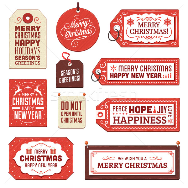 Stock photo: Collection of Cardboard Christmas Tags and Labels