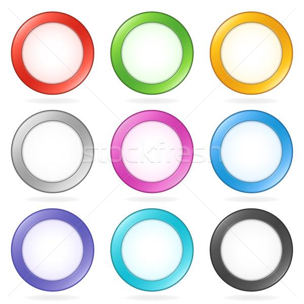 Vektör düğmeler parlak merkez yeşil Stok fotoğraf © cajoer