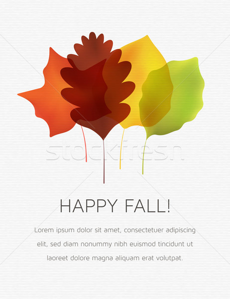 Stylized Autumn Leaves on a White Textured Background Stock photo © cajoer