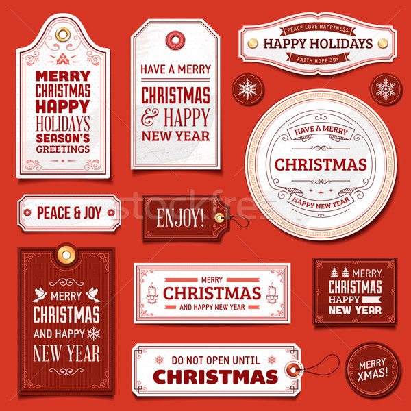 White and Red Vector Christmas Labels Stock photo © cajoer