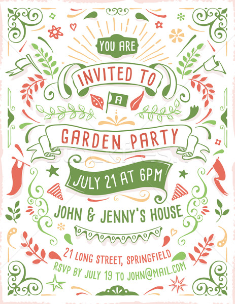 Hand Drawn Summer Party Invitation Template Stock photo © cajoer