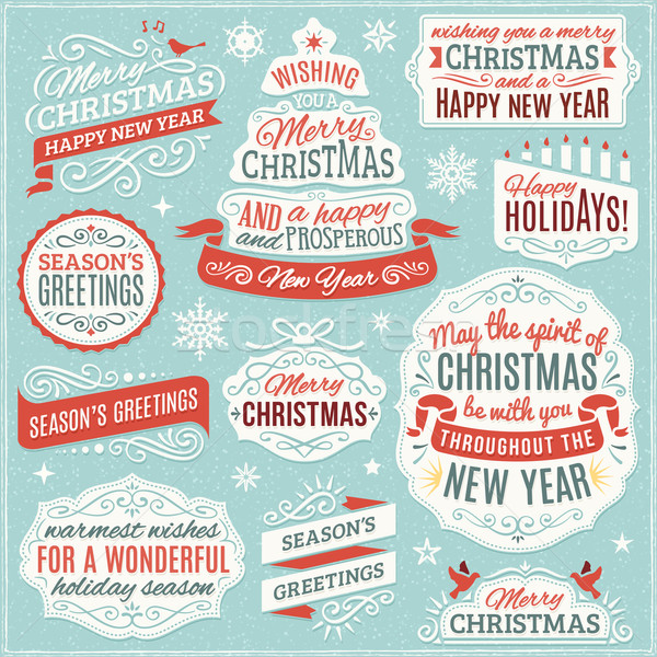 Collection of Christmas Labels, Ornaments and Ribbons Stock photo © cajoer