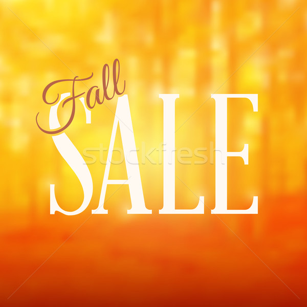 Square Shaped Fall Sale Sign With a Blurred Forest Background Stock photo © cajoer