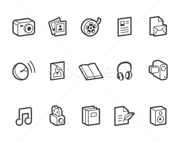 Media and Publishing Icons Stock photo © cajoer