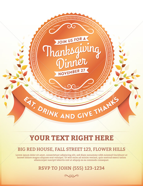 Thanksgiving Dinner Invitation Template Stock photo © cajoer