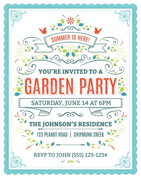 Garden party invitation vecteur ornements fleur Photo stock © cajoer