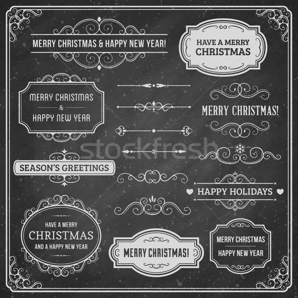 Tábla karácsony terv elemek gyűjtemény díszek Stock fotó © cajoer