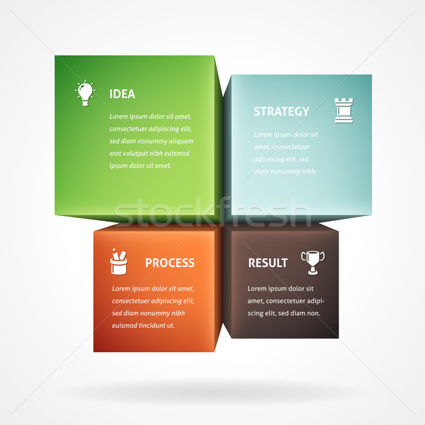 Infographic Template With Four Boxes Stock photo © cajoer