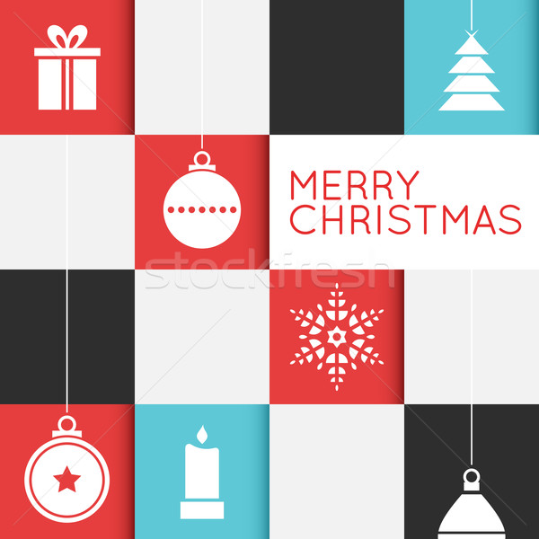 Checkered Christmas Card with Stylized Ornaments Stock photo © cajoer