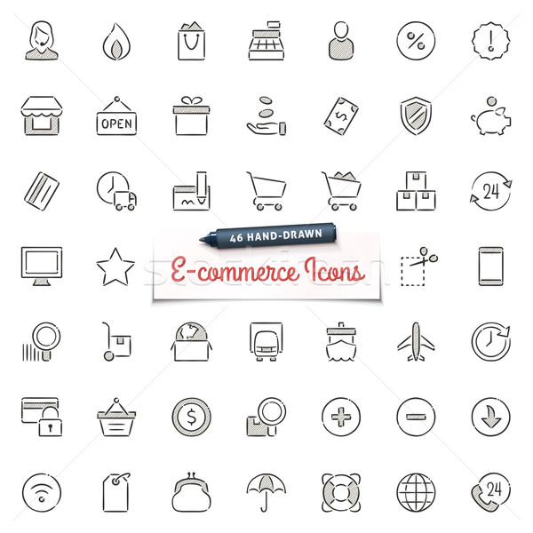Hand-Drawn E-commerce Icons Stock photo © cajoer