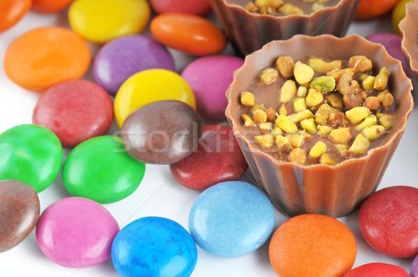 Orzechy Wielkanoc żywności czekolady tle Zdjęcia stock © Calek