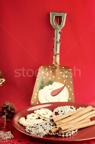 Naturaleza muerta Navidad alimentos sonrisa fondo verde Foto stock © Calek